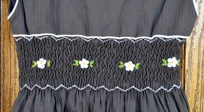 Dark Grey smocking closeup