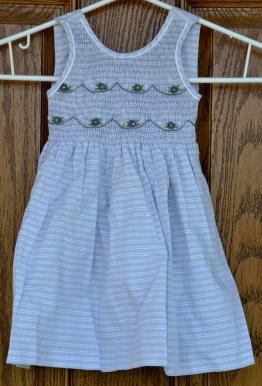 (SOLD) Light grey/white w. horizontal stripe. Age 1. 48cm long; 22 cm wide.