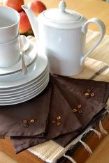 Coffee bean hand-embroidered serviettes, set of 10
