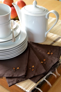 Coffee bean hand-embroidered serviettes, set of 10