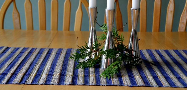 Blue table-runner+6placemats set; handmade recycled aluminium candle sticks