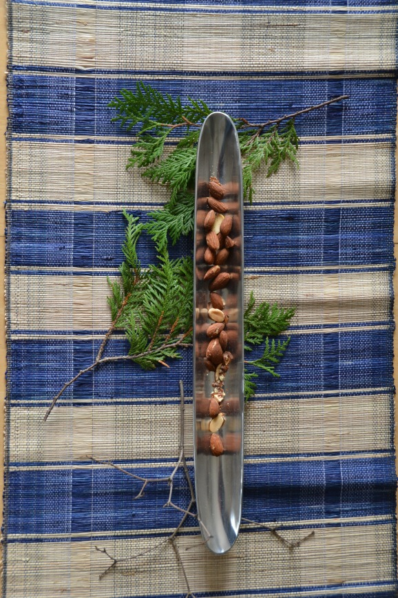 Blue table-runner+6placemat set; olive/nut/candy dish handmade from recycled aluminium