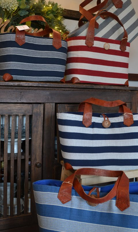 Marine totes in grey, navy (2 variations), red, blue. Medium (without button closure) and Large