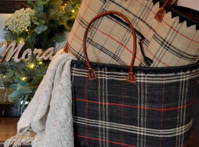 Large plaid market baskets in black, cream *Raw silk scarf not for sale.