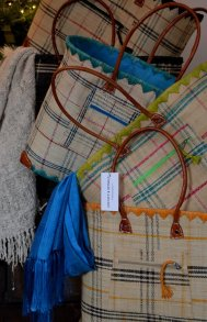 Large plaid market basket in cream/teal, cream/chartreuse, cream/mango. *Raw silk scarves not for sale.