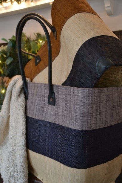 Tri-stripe baskets available in assorted colours. *Raw silk scarf not for sale.