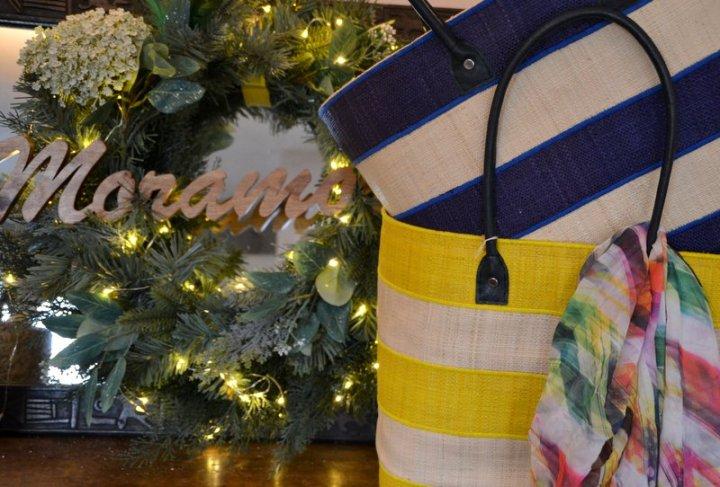 Yellow/cream, Navy/cream large stripe baskets