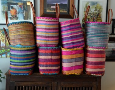 Stripes with pink, purple or teal