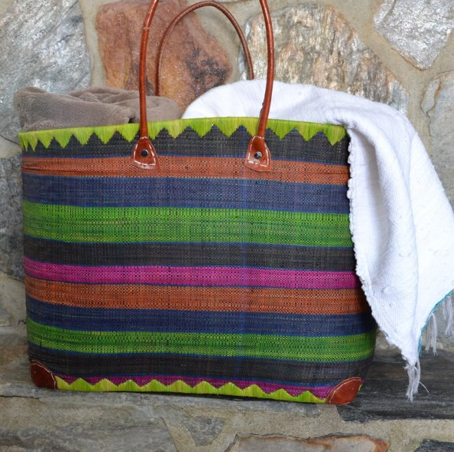 Blanket storage in the living room. Or, use it for a beach bag to carry your picnic blanket, towels, and beach paraphernalia.