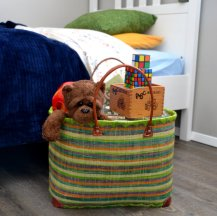 To corral toys and stuffies in a child's room. Also GREAT as a diaper bag, since baskets have a large opening to toss stuff in, yet can close up with a drawstring!