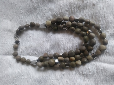 Knicker nut (bonduc) seed and recycled aluminium beads (handforged in Madagascar) necklace