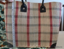 Kanana Basket, size medium. Red/black plaid on cream