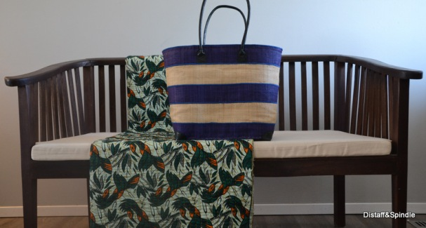 Kanana Basket. Size Medium. Indigo and cream Horizontal stripe