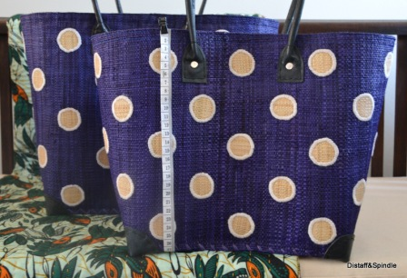 Kanana Basket. Sizes Medium and Small. Indigo with cream dots. Also available in Navy