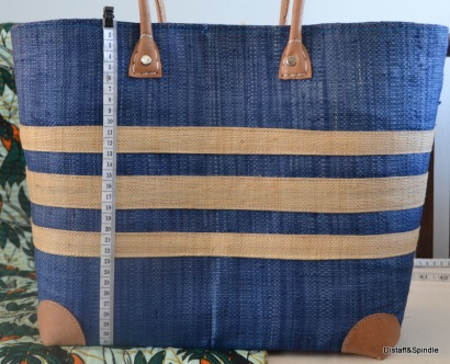 Tri-stripe basket. Medium Size. Cream stripes on Denim