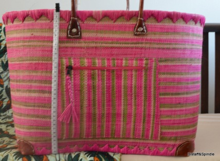 Market Basket. Size Large. Pink/green/cream horizontal stripe.