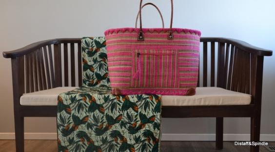 Market Basket. Size Large. Pink/green/cream horizontal stripe.